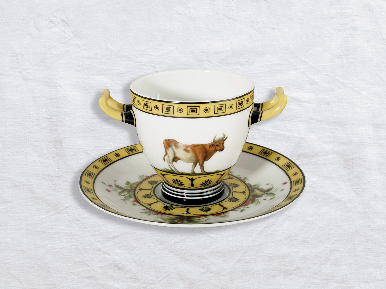China Etruscan cup with handles and saucer of the collection La laiterie de rambouillet | Bernardaud