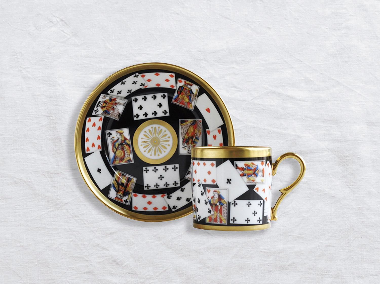 Tasse et soucoupe litron en porcelaine de la collection Jeux de cartes Bernardaud