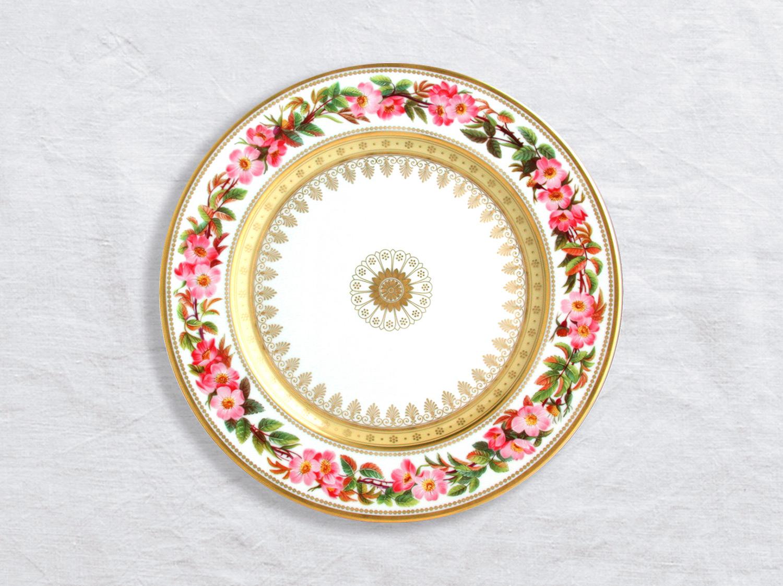 Assiette à dîner Rosier feuilles rougeatre 26 cm en porcelaine de la collection Botanique Bernardaud