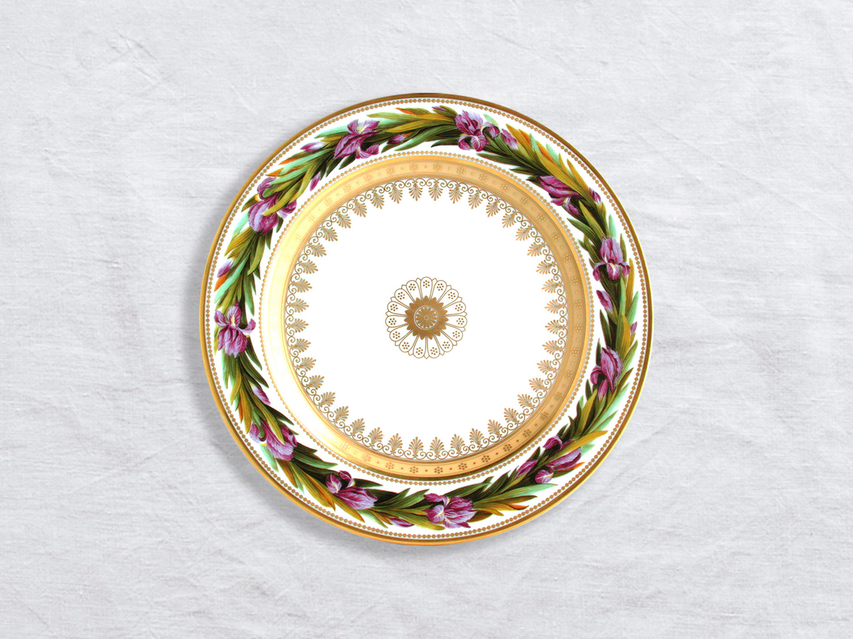Assiette à dessert Iris nain fleurs violette 21 cm en porcelaine de la collection Botanique Bernardaud