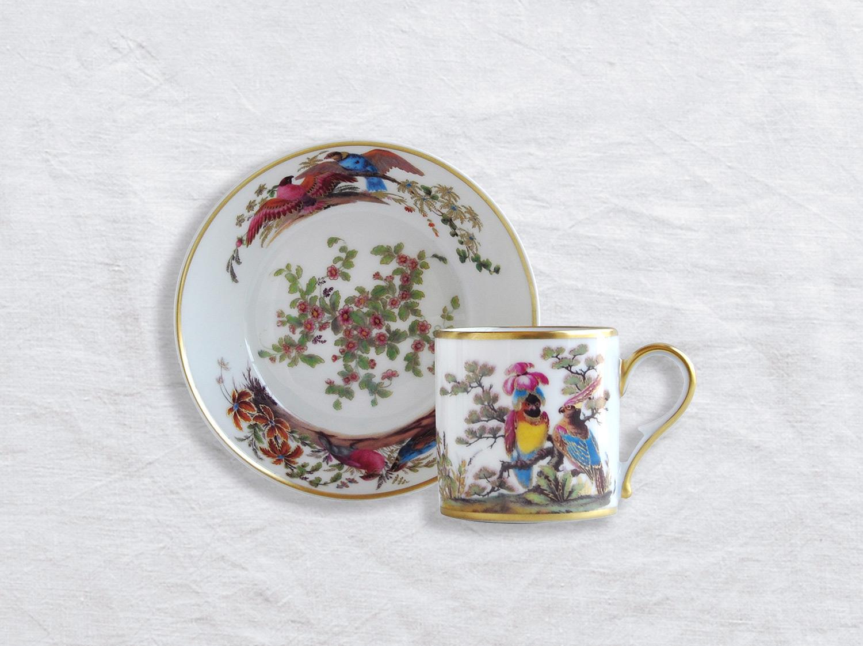 Tasse et soucoupe litron en porcelaine de la collection Aux perroquets Bernardaud