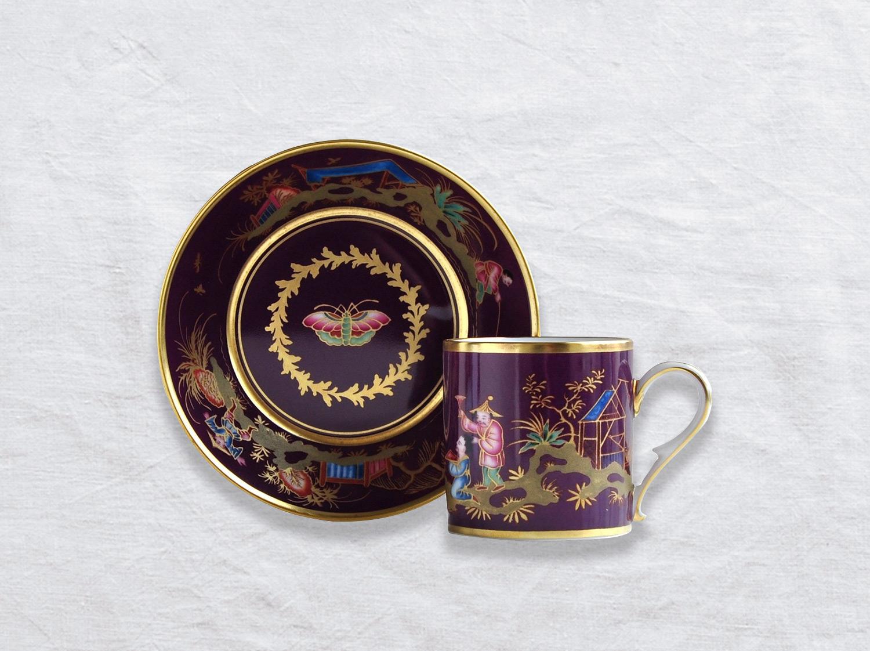 Tasse et soucoupe litron en porcelaine de la collection Chinois dans un jardin Bernardaud
