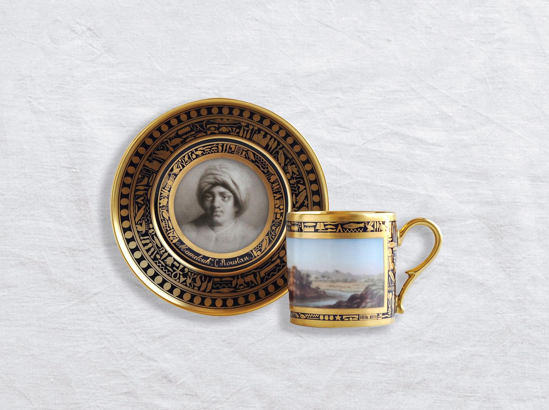 Tasse et soucoupe litron en porcelaine de la collection Vue de philae Bernardaud