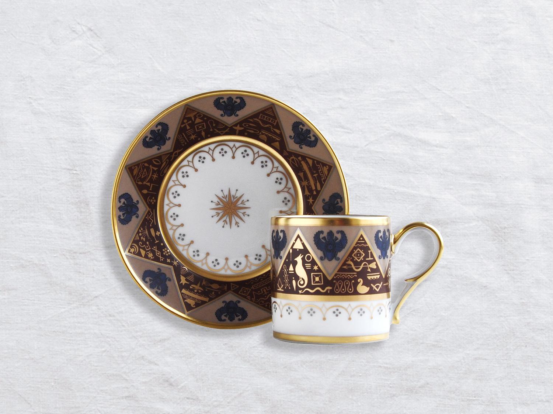 Tasse et soucoupe litron en porcelaine de la collection Hieroglyphes Bernardaud