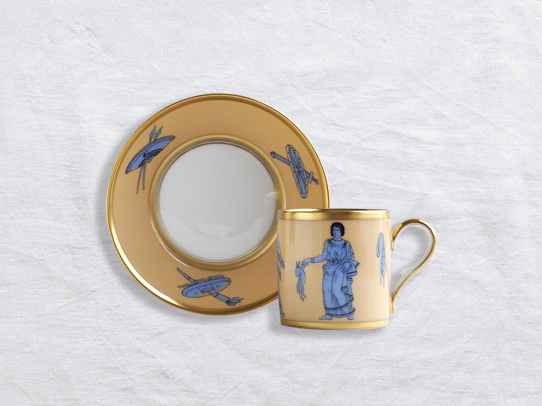Tasse et soucoupe litron en porcelaine de la collection Etrusque bleu Bernardaud