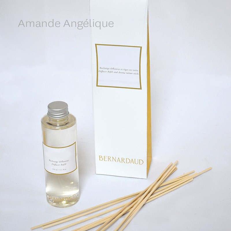 "Recharge pour diffuseur 150 ml + tiges en rotin ""Amande Angélique"" en porcelaine de la collection Recharge CHARMILLE Bernardaud"