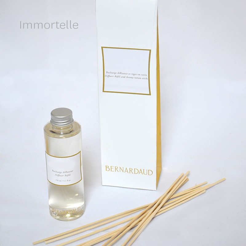 "Recharge pour diffuseur 150 ml + tiges en rotin ""Immortelle"" en porcelaine de la collection Recharge CHARMILLE Bernardaud"
