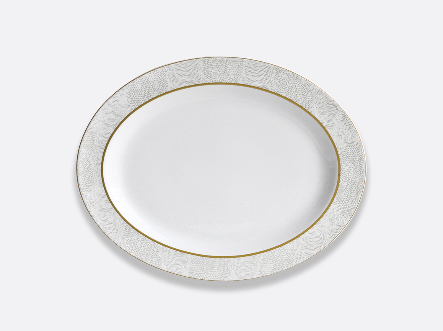 China Oval platter 38 cm of the collection Sauvage Or Blanc | Bernardaud