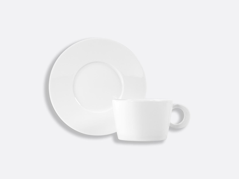 Tasse et soucoupe déjeuner Opus 27cl en porcelaine de la collection FANTAISIES BLANC Bernardaud