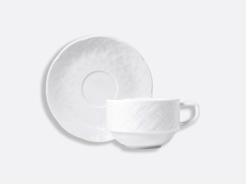 Tasse et soucoupe déjeuner empilable 22 cl en porcelaine de la collection OSIER BLANC Bernardaud