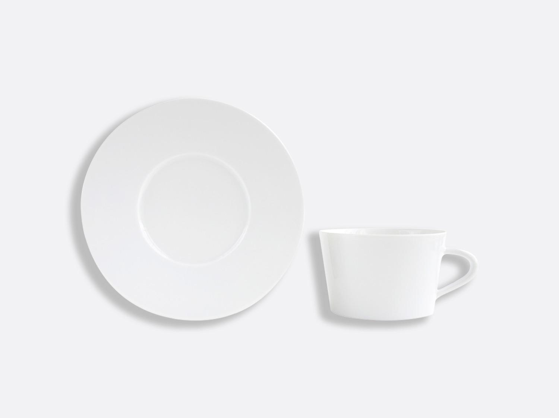 Tasse et soucoupe thé 15 cl en porcelaine de la collection ASTRE BLANC Bernardaud