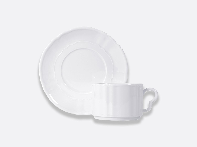 Tasse et soucoupe déjeuner empilable 17 cl en porcelaine de la collection L.15 BLANC Bernardaud