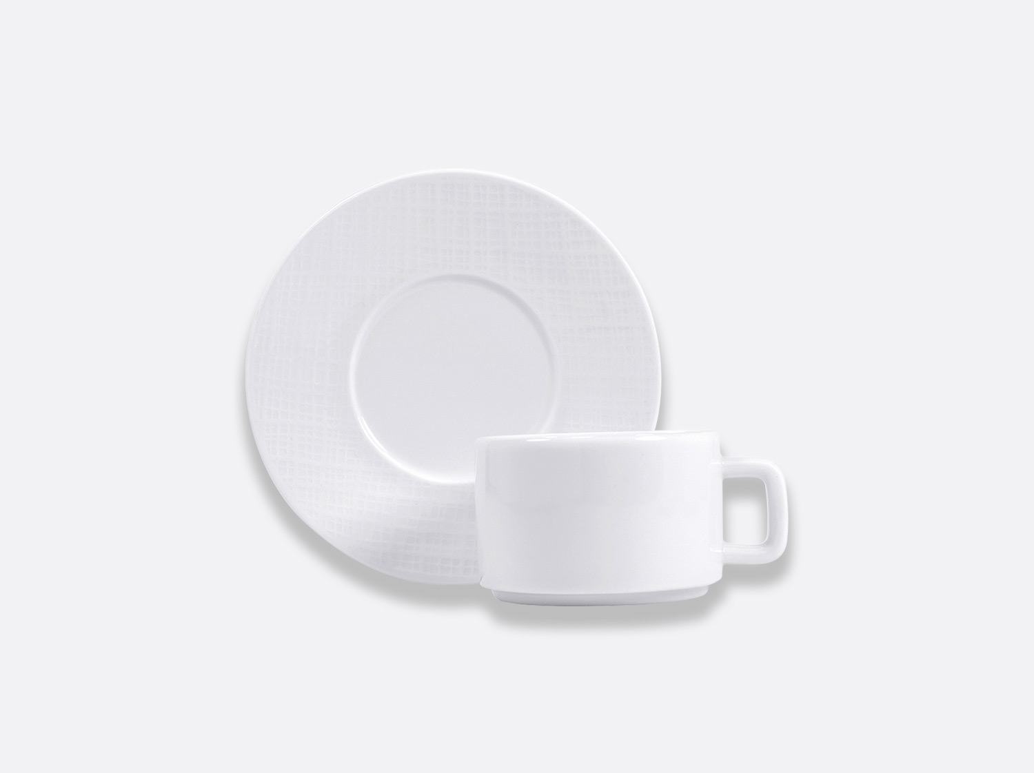 Tasse et soucoupe thé empilable 15 cl en porcelaine de la collection ORGANZA BLANC Bernardaud