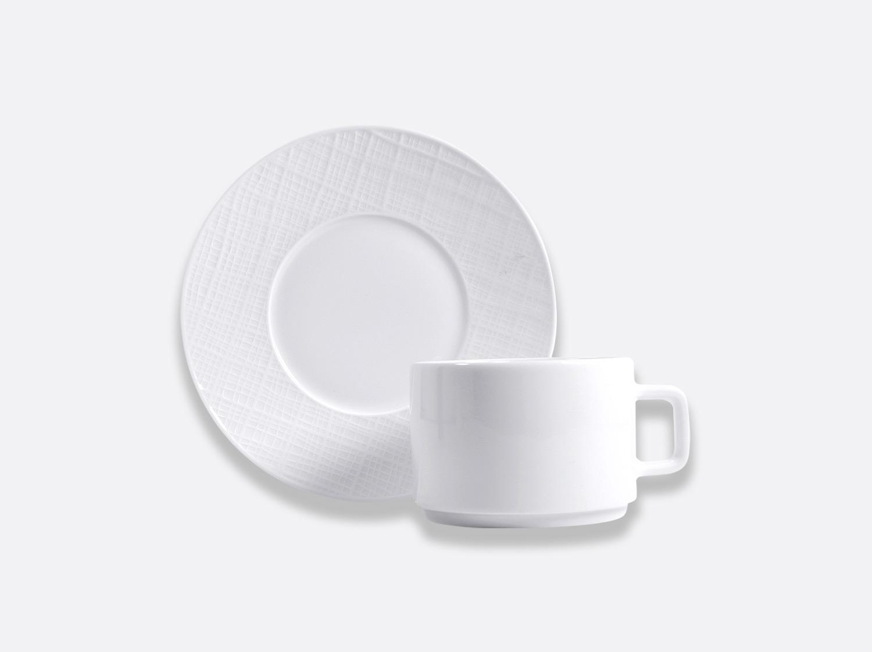 Tasse et soucoupe déjeuner empilable 25 cl en porcelaine de la collection ORGANZA BLANC Bernardaud