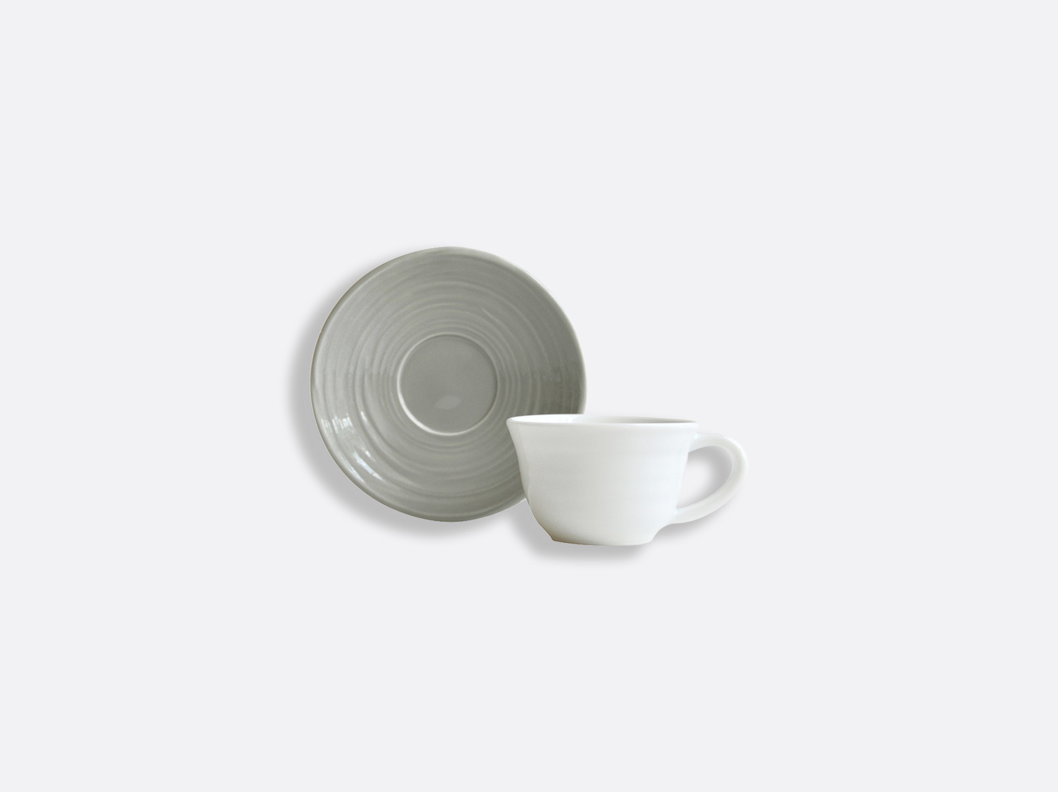 Tasse et soucoupe café Gris 7 cl en porcelaine de la collection Origine gris Bernardaud