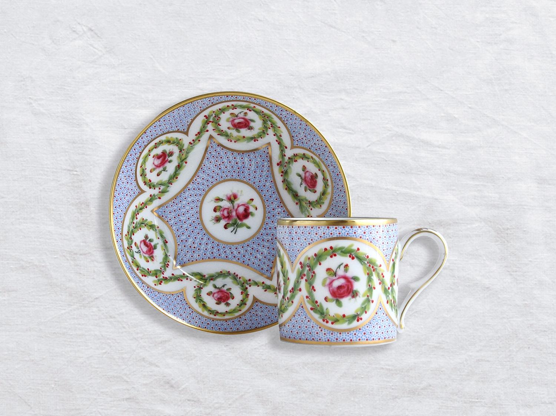 Tasse et soucoupe litron en porcelaine de la collection Myrtes et roses Bernardaud