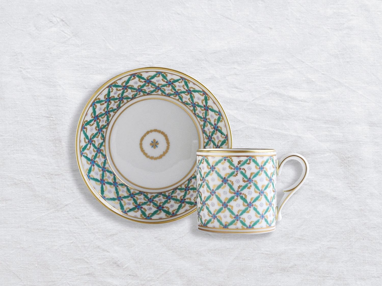 Tasse et soucoupe litron en porcelaine de la collection Quadrille verte Bernardaud
