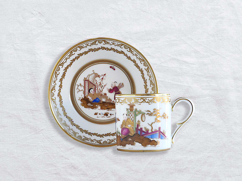 Tasse et soucoupe litron en porcelaine de la collection AU JARDIN CHINOIS Bernardaud