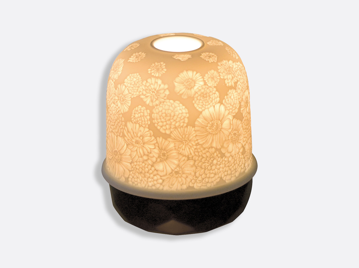 Zinnias Noir Mat en porcelaine de la collection Lampion Bernardaud