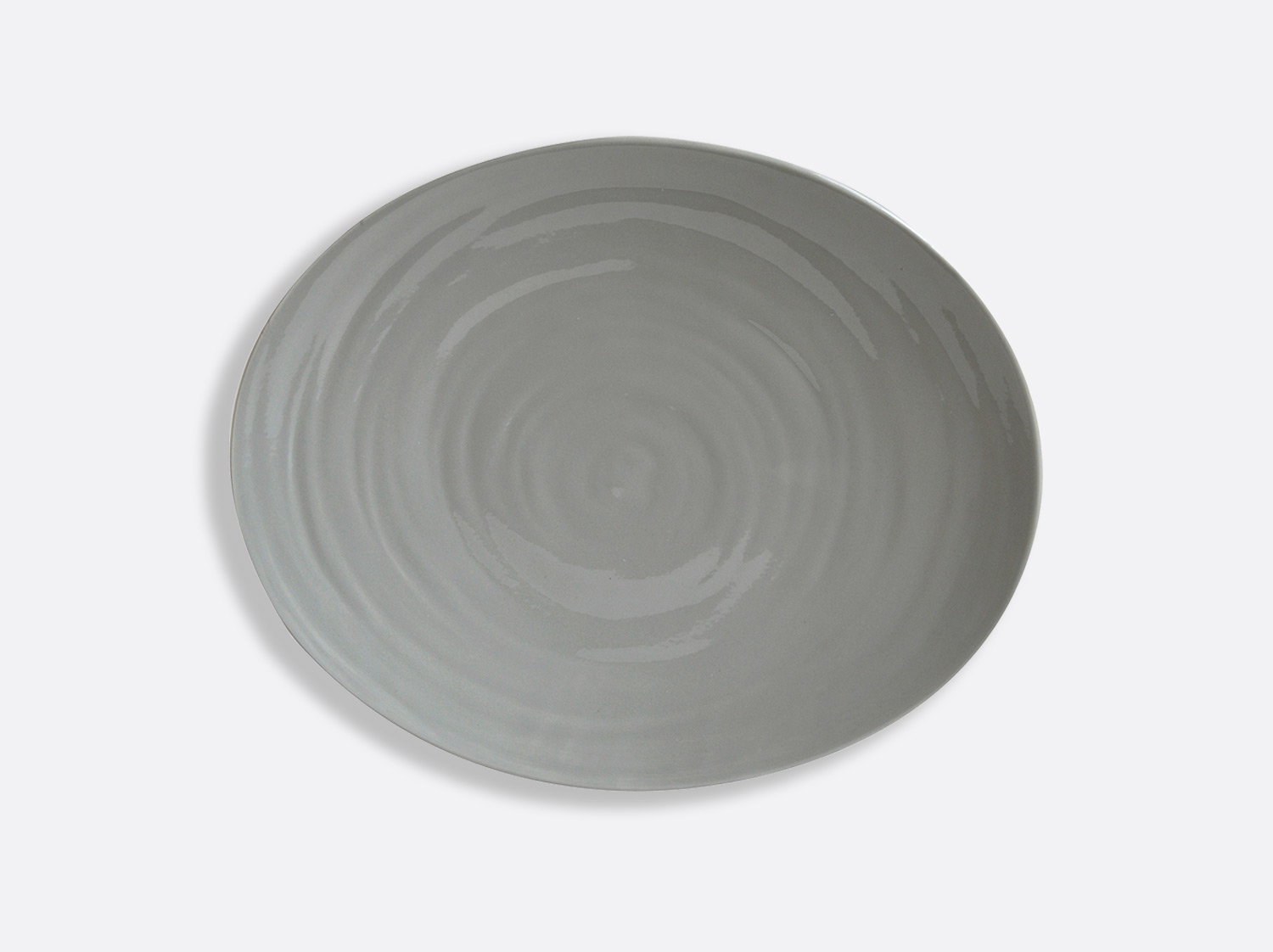 Assiette ovale 33 cm - Gris en porcelaine de la collection Origine gris Bernardaud