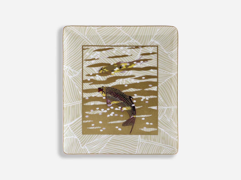 Plateau rectangulaire 22 x 19,5 cm en porcelaine de la collection EAUX D OR Bernardaud