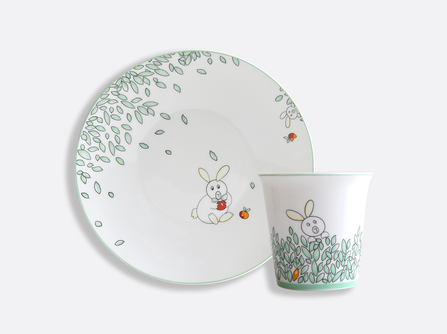 Coffret 1 assiette 21 cm + timbale en porcelaine de la collection PETIT BOULINGRIN Bernardaud