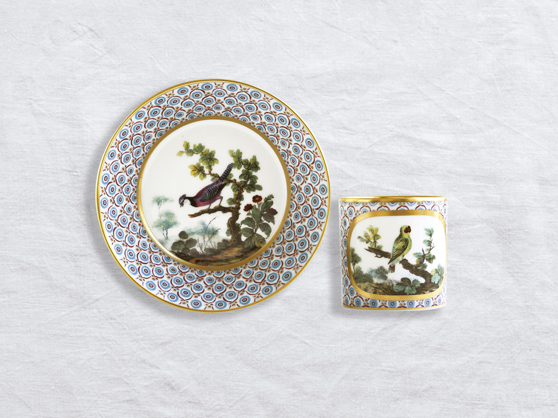 Tasse et soucoupe litron en porcelaine de la collection PERRUCHE À JOÜE ROUGE Bernardaud