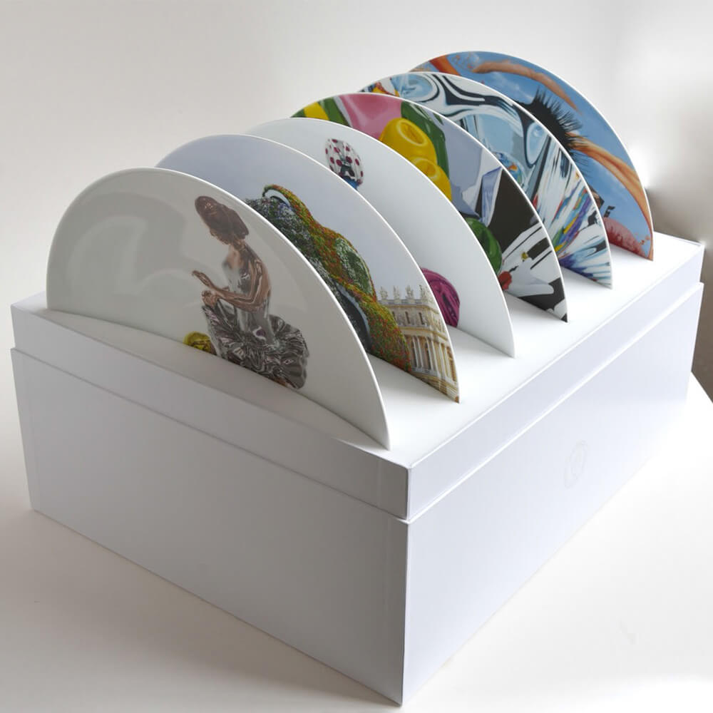 Coffret de 6 assiettes coupes assorties 31 cm en porcelaine de la collection COUPES by Jeff Koons Bernardaud