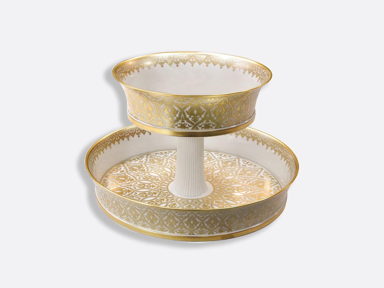 Serviteur 2 niveaux H. 31 cm D. 45,5 cm en porcelaine de la collection Venise Bernardaud