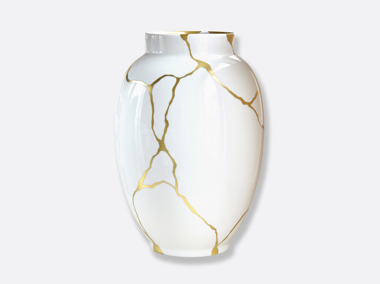 Potiche blanche H. 57 cm en porcelaine de la collection KINTSUGI Bernardaud