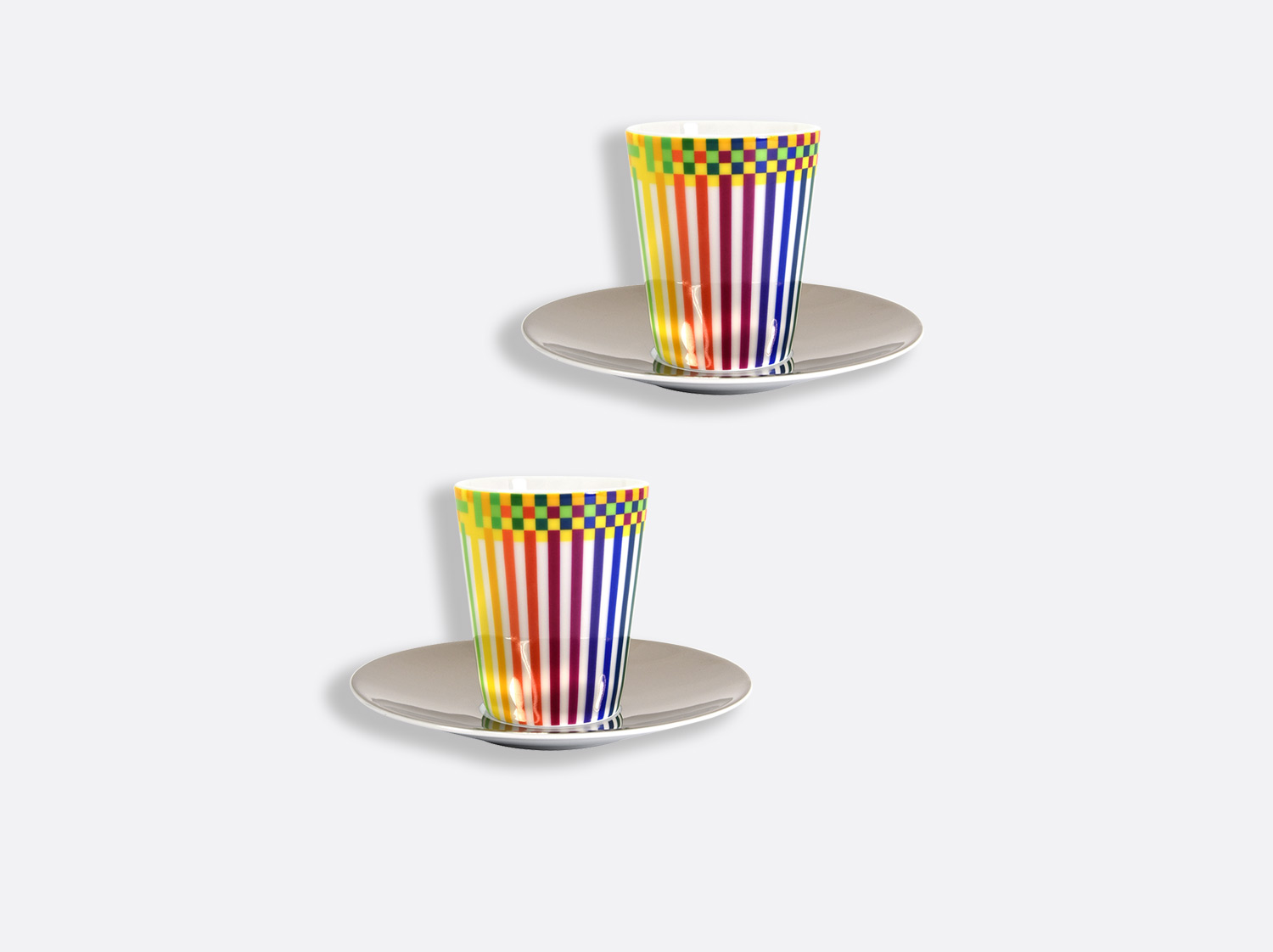 China Set of 2 espresso cups and platinum saucer 7 cl of the collection Surface colorée B29 | Bernardaud