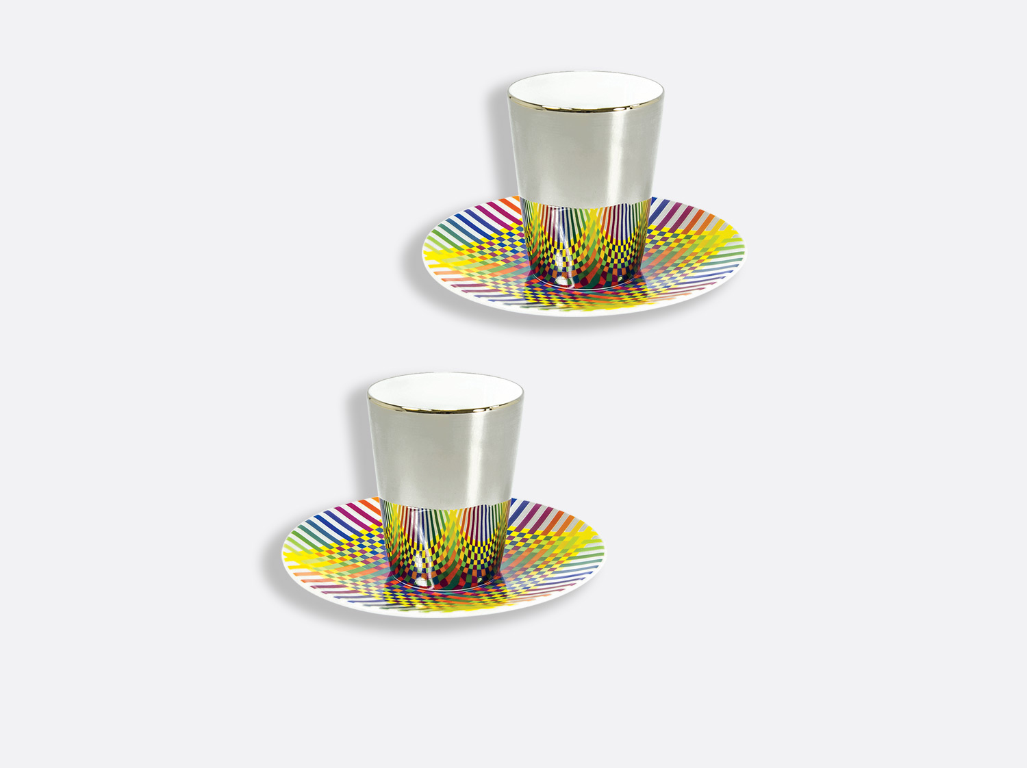 Coffret de 2 tasses platine et soucoupe café 7 cl en porcelaine de la collection Surface colorée B29 Bernardaud
