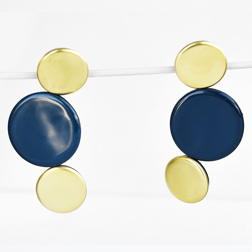 China Disque Bleu de prusse et or Earrings of the collection Be Bold Over | Bernardaud
