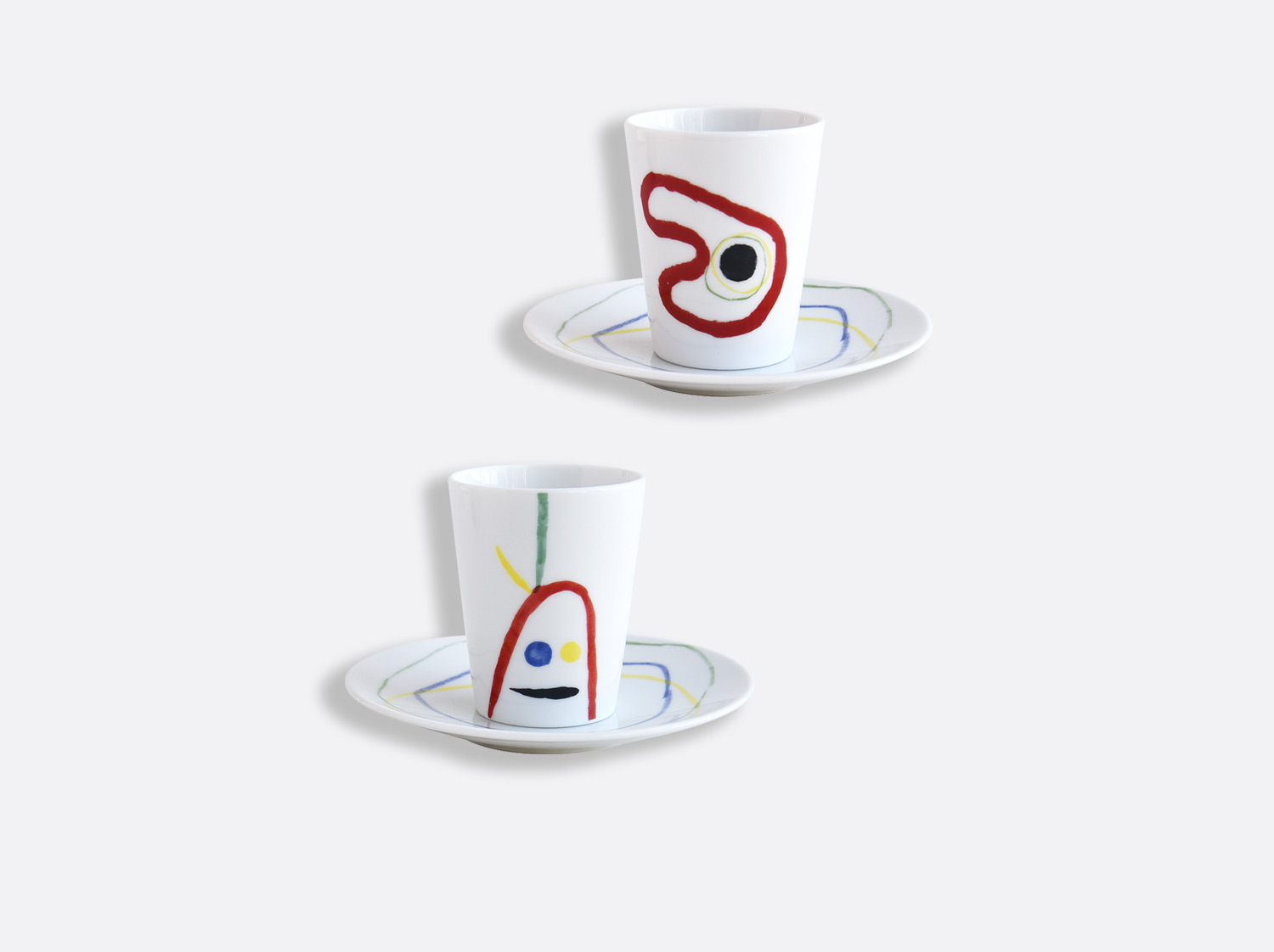 China Set of 2 assorted cups and saucers 2.4 oz of the collection A TOUTE EPREUVE - JOAN MIRO | Bernardaud