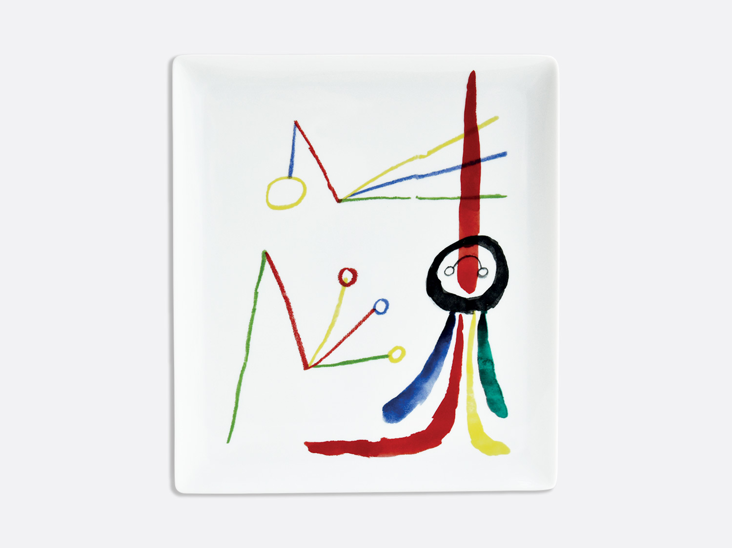Plateau rectangulaire 26,5 x 23,5 cm en porcelaine de la collection A TOUTE EPREUVE - JOAN MIRO Bernardaud