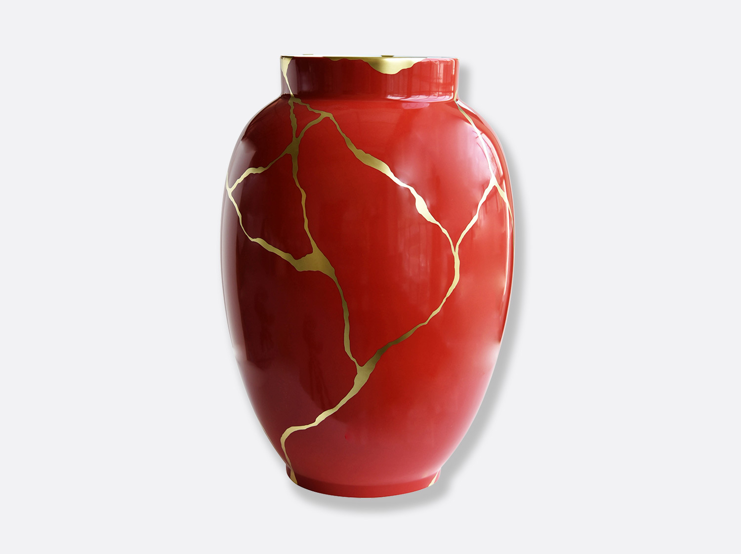 Potiche rouge H. 57 cm en porcelaine de la collection KINTSUGI Bernardaud