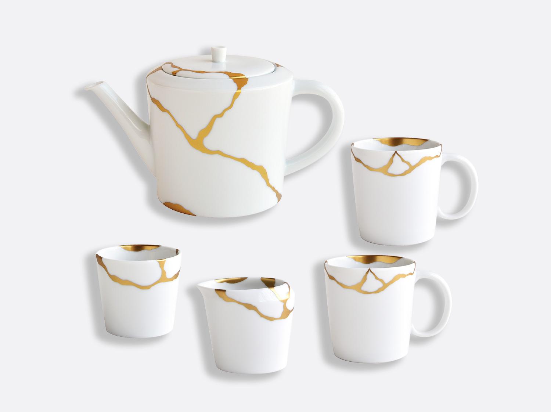 Coffret 1 théière, 2 mugs, 1 sucrier et 1 crémier en porcelaine de la collection KINTSUGI Bernardaud