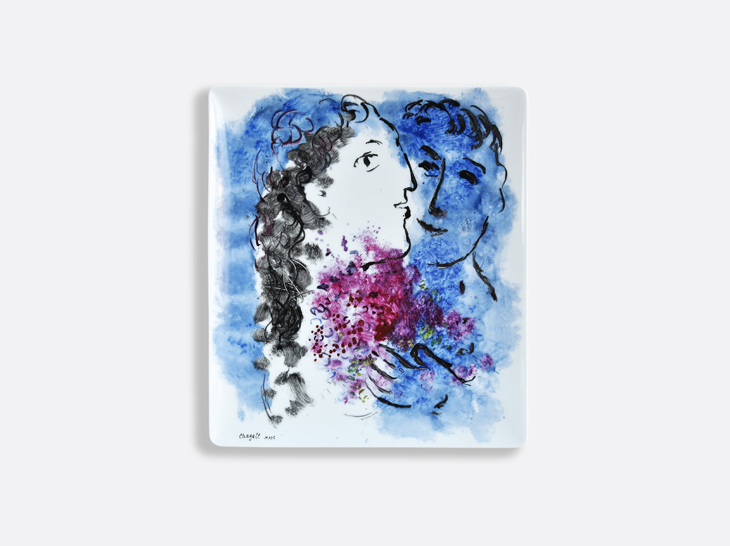 China Rectangular tray 22 x 19,5 cm of the collection LES BOUQUETS DE FLEURS DE  MARC CHAGALL | Bernardaud