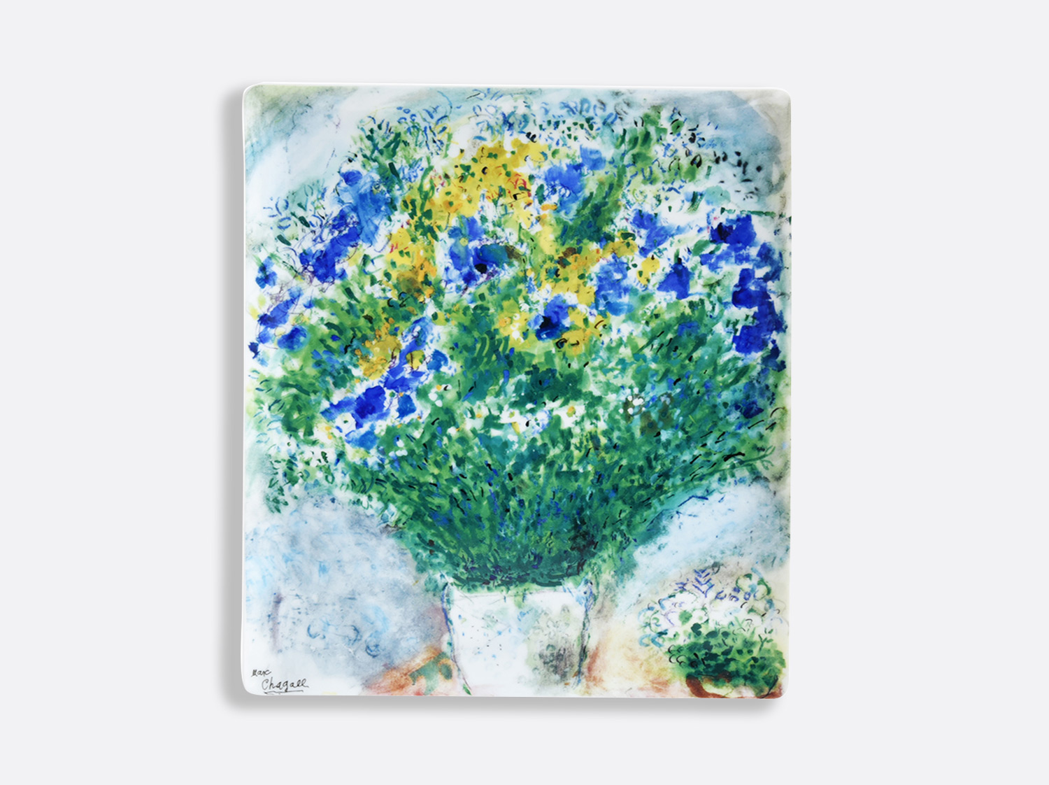 China Rectangular tray  26,5 x 23,5 cm of the collection LES BOUQUETS DE FLEURS DE  MARC CHAGALL | Bernardaud