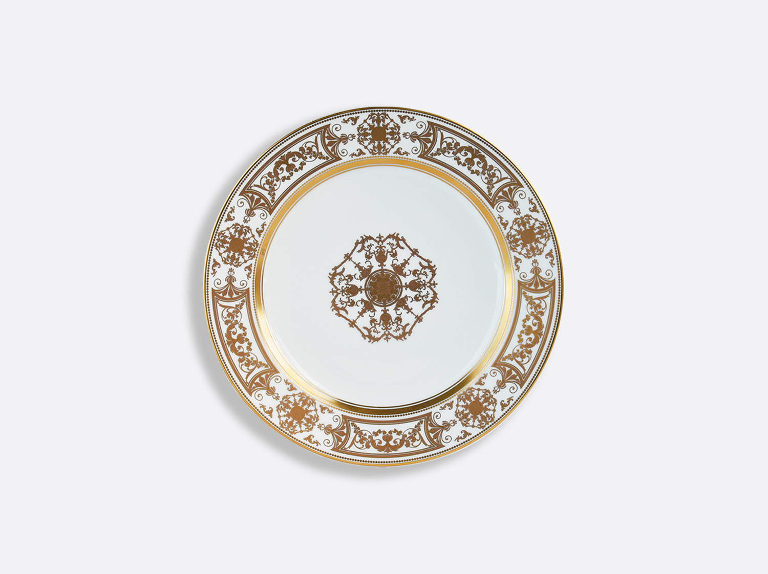 Assiette à dessert 21 cm en porcelaine de la collection Aux Rois Or Bernardaud