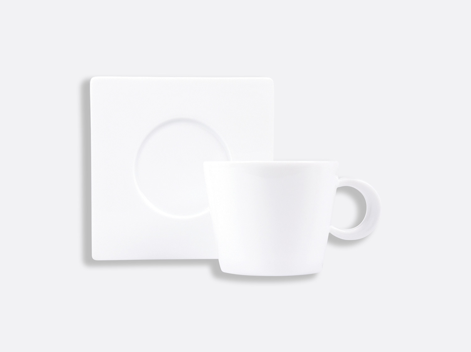 Tasse et soucoupe chocolat / thé Opus 17 cl en porcelaine de la collection OPUS BLANC Bernardaud