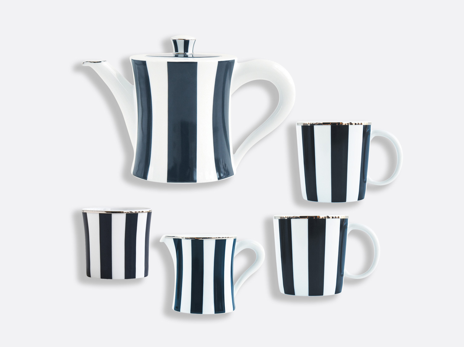 China Set of : 2 mugs, small hot beverage server, creamer, sugar bowl of the collection Galerie Royale Bleu Nuit | Bernardaud