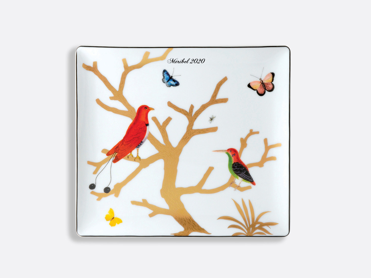China Rectangular tray 22 x 19,5 cm of the collection Aux oiseaux - Personnalisation | Bernardaud