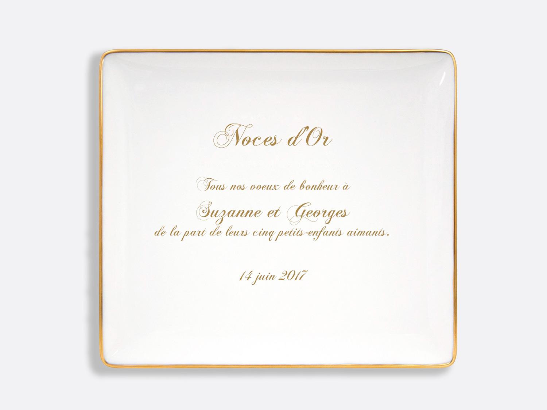 Plateau rectangulaire 26,5 x 23,5 cm en porcelaine de la collection Palmyre - Personnalisation Bernardaud