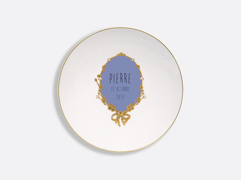 Assiette coupe 21 cm en porcelaine de la collection Medaillon bleu - personnalisation Bernardaud