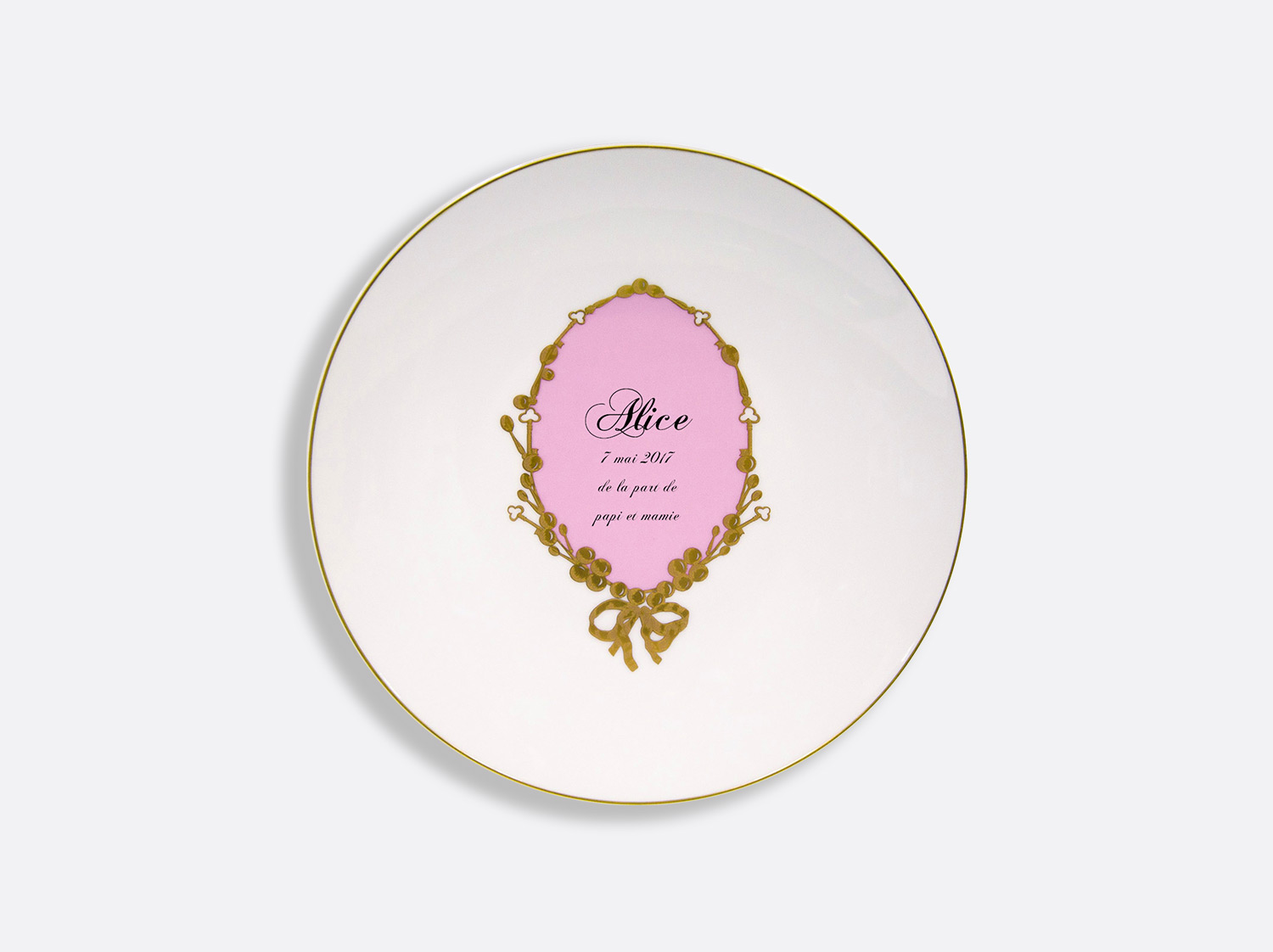 China Salad plate 21 cm of the collection Medaillon Rose - Personnalisation | Bernardaud