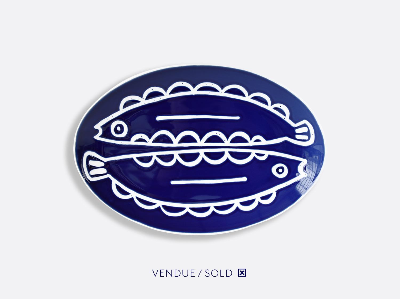 Plat ovale 38 cm n°8 en porcelaine de la collection Atelier Buffile - Algues et Poissons Bernardaud