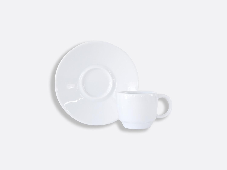 Tasse et soucoupe café Boule empilable 8 cl en porcelaine de la collection DOMUS BLANC Bernardaud