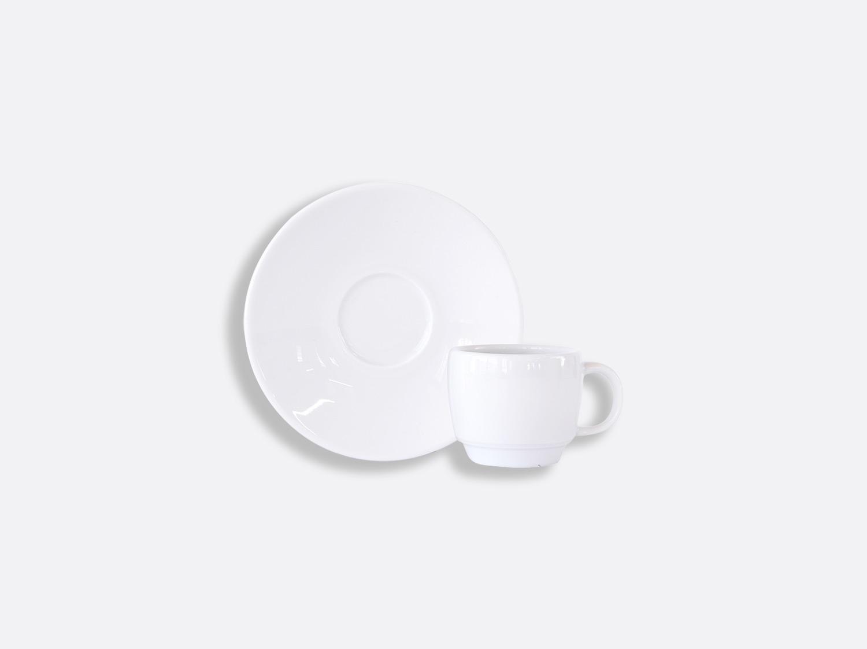 Tasse et soucoupe expresso Boule empilable 5 cl en porcelaine de la collection DOMUS BLANC Bernardaud