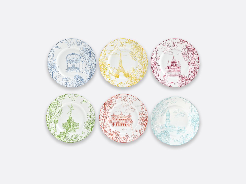 Coffret de 6 assiettes 21 cm assorties en porcelaine de la collection Tout Paris Bernardaud